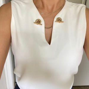 White blouse with gold detail- Calvin Klein